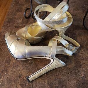VERSACE shoe sandle heel platform ankle gold